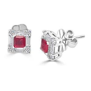 Pendientes de oro blanco modelo orla cuadrada de diamantes y rubí