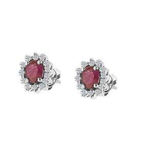 Pendientes de oro blanco modelo orla de diamantes y rubí