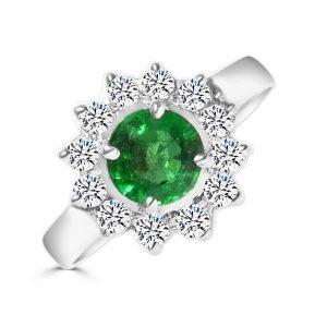Anillo modelo orla de diamantes y esmeralda