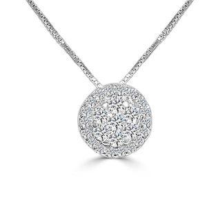 Colgante oro blanco modelo orla de diamantes talla brillante