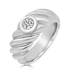 Anillo oro blanco - modelo solitario con diamante